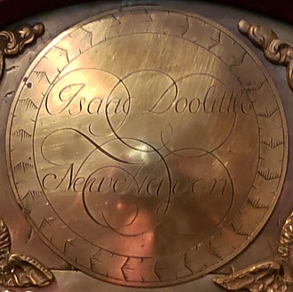 Isaac Doolittle - Signature medallion from brass clock face of an Isaac Doolittle hall clock, c. 1770