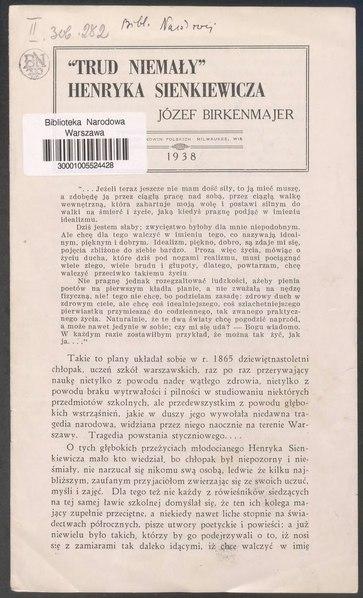 """File:Józef Birkenmajer - """"Trud Niemały"""" Henryka Sienkiewicza.djvu"""
