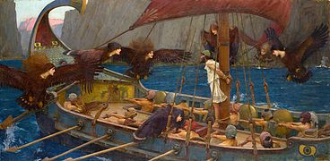 JOHN WILLIAM WATERHOUSE - Ulises y las Sirenas (National Gallery of Victoria, Melbourne, 1891. Óleo sobre lienzo, 100.6 x 202 cm).jpg