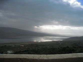 Litani River - The Litani River Dam, as seen from the highway to the west.
