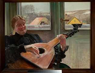 Portrait of artist's sister Helene with lute