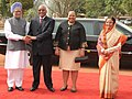 Jacob Zuma and his wife Mrs. Nompumelelo Ntuli-Zuma being welcomed by the Prime Minister, Dr. Manmohan Singh on their arrival at the ceremonial reception hosted by the President, Smt. Pratibha Devisingh Patil.jpg