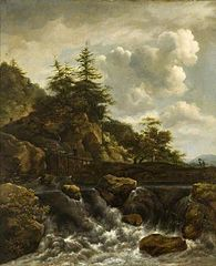 Waterfall with footbridge and pine trees