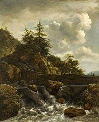 Jacob van Ruisdael - Waterfall with footbridge and pine trees.jpg