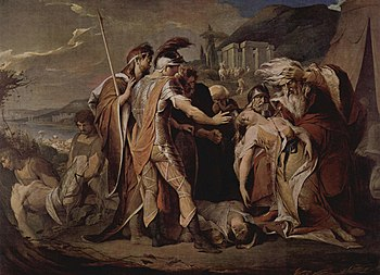 18th-century depiction of King Lear mourning o...