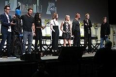 James Gunn, Michael Rooker, Chris Pratt, Zoe Saldana, Karen Gillan, Pom Klementieff, Dave Bautista, Elizabeth Debicki & Kurt Russell (28630232796).jpg