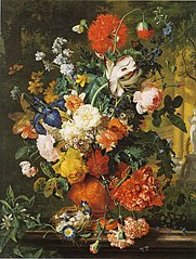 Vase of Flowers on a Garden Ledge