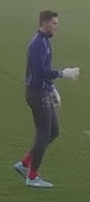 Jayson Leutwiler - Leutwiler warming up for Shrewsbury Town in 2015