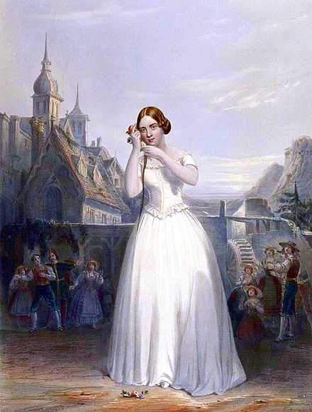 The 19th century singer Jenny Lind depicted performing La sonnambula Jenny Lind in La Sonnambula.jpg