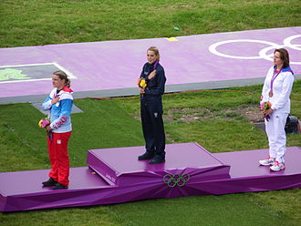 Shooting at the 2012 Summer Olympics – Women's trap - Image: Jessica Rossi picking up gold in the London 2012 Olympic trap shooting