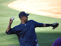 Jeter warming up before a game with the Colorado Rockies on June 19, 2007