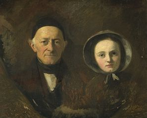 Portrait of Johann Joseph Hermann (1782-1857), father-in law of the artist, with Ida Schwartze, the artist's oldest daughter
