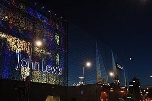 English: John Lewis at Night, near to Leiceste...