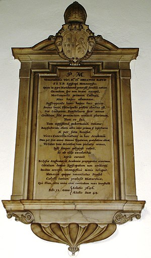 John Lloyd (Bishop of St David's) - Lloyd's memorial in the chapel at Jesus College, Oxford