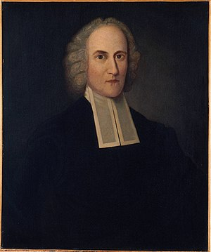 Jonathan Edwards College - Copy of Joseph Badger's portrait of Edwards; the original hangs in the college