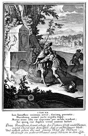 David and Jonathan - Jonathan embraces David from Caspar Luiken's Historiae Celebriores Veteris Testamenti Iconibus Representatae (1712)