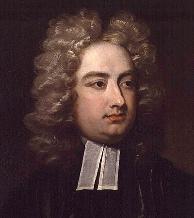 Jonathan Swift; Tory satirist and creator of the first sustained campaign in moulding British public opinion. Jonathan Swift by Charles Jervas detail.jpg