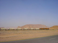 Empty phosphate train at Ram station, coming from Aqaba.