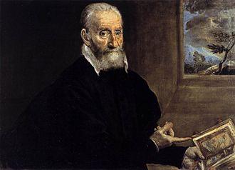 Giulio Clovio - Portrait of Giorgio Giulio Clovio, pointing to his Farnese Hours, by El Greco.