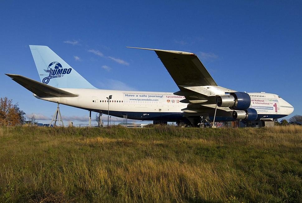 Jumbo Hostel in a 747 at Stockholm Arlanda Airport