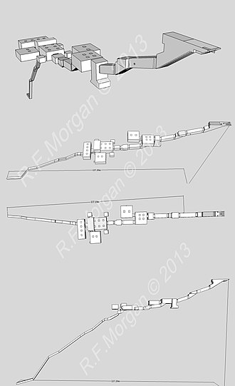 KV17 - Isometric, plan and elevation images of KV17 taken from a 3d model