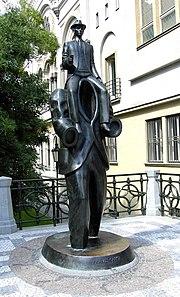 Bronze statue of Franz Kafka in Prague