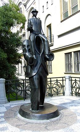 Bronze statue of Franz Kafka in Prague