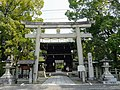Kamigoryo Shrine in Kyoto - Torii gate and Two-storied gate.jpg