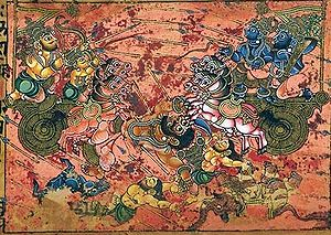 Karna - Karna (left) kills Ghatotkacha (centre) as Arjuna (right) watches