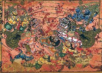 Karna - Karna (left) kills Ghatotkacha (centre) as Arjuna (right) watches
