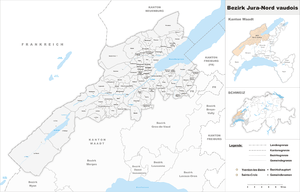 Jura-Nord vaudois District - Image: Karte Bezirk Jura Nord vaudois 2011