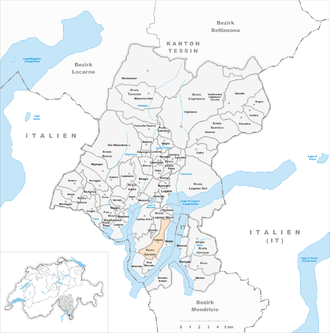 Carona, Ticino - Image: Karte Gemeinde Carona 2012