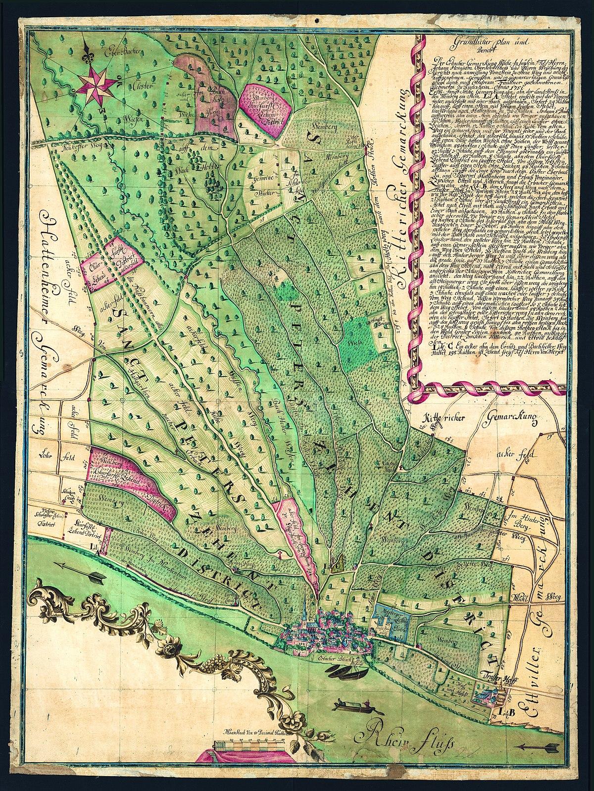File Karte Der Gemarkung Erbach Im Rheingau 1751 Jpg Wikimedia