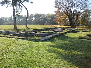 Mansio - Foundation of Roman mansio at Eining, Germany.