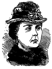 Sketch drawing of a dark-haired woman wearing a fur collar and a small hat decorated with a bow and feather.