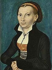 Katharina von Bora, Porträt von Lucas Cranach dem Älteren von 1526. Bild: wikimedia.org/PD