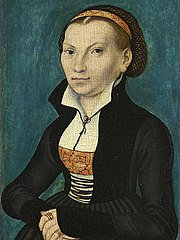 Portrait of Katharina von Bora, wife of Martin Luther, by Lucas Cranach the Elder. 1526. Oil on panel. Warburg-Stiftung, Eisenach, Germany.