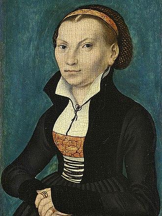 Katharina von Bora - Portrait of Catherine von Bora by Lucas Cranach the Elder, 1526 Oil on panel