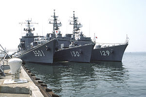 Katori (TV-3501), Matsuyuki (DD-130), and Yamayuki (DD-129) at Norfolk, -30 Jul. 1987 a.jpg