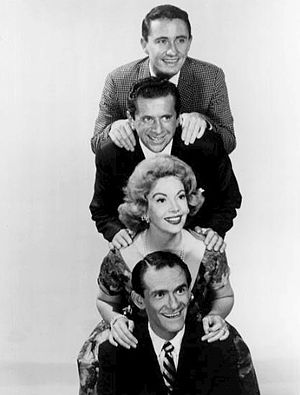 Danny Dayton - Panelists on TV game show Keep Talking (1959). From top: Merv Griffin, Morey Amsterdam, Audrey Meadows and Danny Dayton