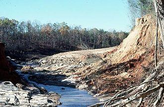 Kelly Barnes Dam - Looking upstream through dam breach, November 7, 1977.