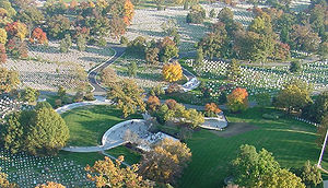 John Carl Warnecke - Aerial view of the President John F. Kennedy grave site and Eternal Flame at Arlington National Cemetery in Arlington, Virginia, in November 2005.