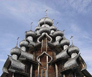 Bochka roof - The bochka roofs of the Transfiguration Church in Kizhi, holding onion domes above. 18th century.