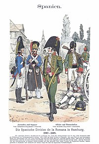 Print shows men in early 19th century military uniforms. The grenadier and sapper at the left belonging to the Princesa Line Infantry wear blue coats with fur hats. The officer and enlisted man at the right from the Catalonia Light Infantry wear green hussar-style jackets.