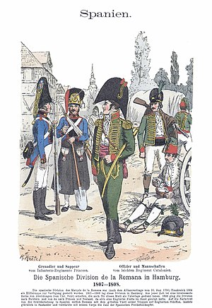 Peninsular War - Princesa Line Infantry Regiment (left) and Catalonia Light Infantry Regiment (right)