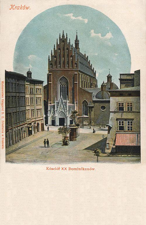 Eglise des Dominicains à Cracovie sur une carte postale de 1900.