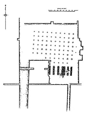Mauryan art - Plan of the 80-columns pillared hall in Kumhrar.