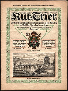 "Cover of the magazine ""Kur-Trier"", May 1919, picture of the Roman Bridge, Trier (Germany), c. 1815."