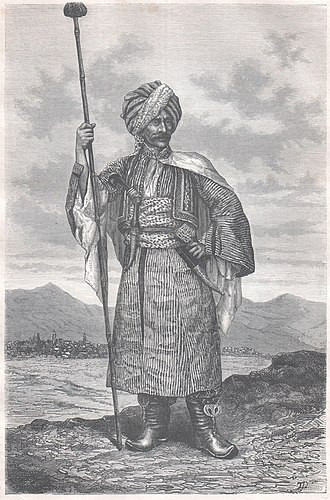 History of the Kurds - A drawing of a Kurdish prince in an Italian book called Giro Mondo