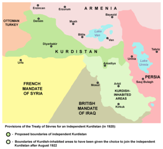 Turkish Kurdistan - Provisions of the Treaty of Sèvres for an independent Kurdistan (in 1920).